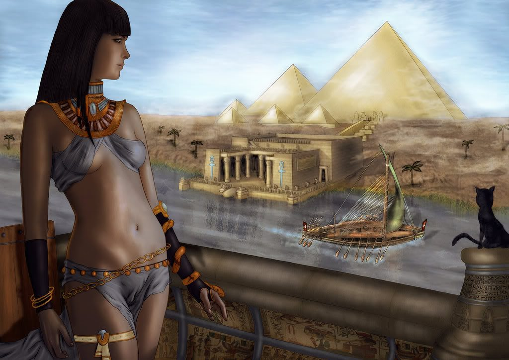 Cleopatra observing the pyramids